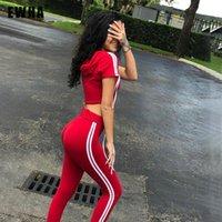 Wholesale Top Brand Women S Suits - Women Tracksuit 2pcs Sweatshirt Brand Red Long Pants Workout Sporting Suit Sweatsuits Crop Top Sportwear Set Summer Wear
