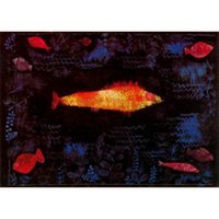 ingrosso olio di pesce di qualità-Arte moderna Golden Fish, Paul Klee dipinti ad olio Riproduzione Decorazioni per la casa dipinte a mano di alta qualità