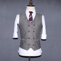 Wholesale Chinese Wedding Suits - 2017 Grey Double Breasted Wedding Brown Wool Herringbone Tweed Vests Groom's Suit Vest Slim Fit Tailor Wedding Vest Men V07
