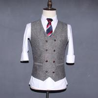 Wholesale Chinese Men Suits - 2017 Grey Double Breasted Wedding Brown Wool Herringbone Tweed Vests Groom's Suit Vest Slim Fit Tailor Wedding Vest Men V07