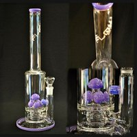 Wholesale Purple Cut Glass - Lavender Glass Bongs Water Pipes In-Line to Mushroom Cross Cut Diffused Purple Slyme Straight Oil Rigs Glass Bongs CHEAP Hookahs