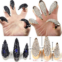 Wholesale party long nails - Fashion punk Diamond cat demon claws sharp long finger nail women Talon finger rings cosplay nail art jewelry