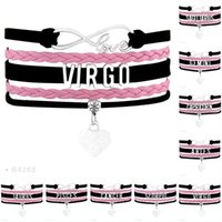 Infinity Love Sagittarius Virgo Cancer Gemini Aries Pulsera El zodiaco Sign Constellation Heart Charm Negro Pink Leather MujeresHombres Jewelry