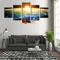 Wholesale Sunrise Wall Art Home Decor - Free Shipping 5 Piece Unframed Canvas Paint Modern Decor Art Paint Sunrise Home Decoration Wall Art HD Canvas Wall Pictures For Bedroom