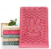 Wholesale Microfiber Absorbent Hair Towels - 2017 New Arrived Rabbit Microfiber Baby Kids Beach Bath Towel For Bathing Swimming Absorbent Drying of 3 colors