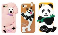 Wholesale Super Cute Iphone Cases - 3D Cute Lovely Cartoon Korea Super Wiggle Poodle Corgi Panda Soft Silicon case For Iphone 6 6s plus 7 8 plus phone cover