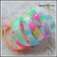 Wholesale Rubber Cross Bracelets - 50pcs lot Assorted Colors Cross Pattern Rubber Silicone Bracelets Glow in the Dark Silicone Wristband Fashional Promotional Gifts