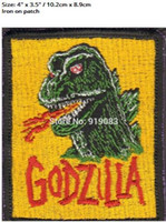 """Wholesale King Japan - 4"""" KING OF THE MONSTERS GODZILLA Flag Patch clothing Iron on BADGE Japan TV Movie Series Halloween Cosplay Costume Supplies party favor diy"""