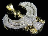 Wholesale Eagle Ice - 10K Yellow Gold Egyptian Eagle God Iced Out Genuine Diamond Pendant Charm 2.5ct