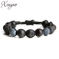 Wholesale Macrame Charms - Wholesale- 2016 Handmade Natural Black Lava Stone & Matte Beads Bead Bracelet Men Macrame Yoga Bracelets For Women Pulseira Masculina F5204