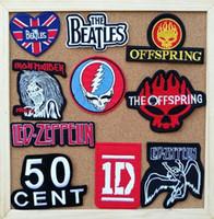 Wholesale Iron Applique Letters - Band iron on patches letter fabric logo music badge cloth applique biker vest coat bag accessories embroidered wholesale