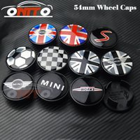 Wholesale Center Hubs For Wheels - High Quingity 54mm For MINI car emblem logo car Wheel Center Hub Cap Auto Wheel badge cover Auto accessories FOR R50 R52 R55 R56 R57 R58 R5