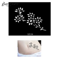 Wholesale Colored Flowers Tattoos - Wholesale-1 Piece Small Henna Tattoo Stencil Flowers Pattern Design Women DIY Colored Drawing Health Body Art Tattoo Stencil Birthday S534