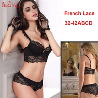 Wholesale Sexy C Panties - 32 34 36 38 40 42 B C D Big Cup French Lace Bra Panties Set Thin Cup Bombshell Underwear Set Sexy Lingerie Set & Intimates