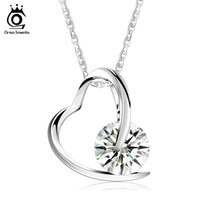 Wholesale Heart Pedant - ORSA JEWELS 100% 925 Sterling Silver Heart Pedant Necklace with AAA Austrian Cubic Zirconia for Women Precious Girl's Gift SN47
