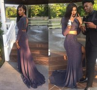 Wholesale sexy open front dress resale online - 2017 African Two Pieces Long Prom Dresses Jewel Neckline Sexy Open Back Side Split Long Sleeves Black Girls Evening Party Gown
