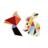 Wholesale Colorful Alloy Bird - Trendy Cartoon Animal Rainbow Rabbit Enamel Brooch Collar Pin Creative Colorful Geometric Crane Bird Pins Brooches For Women Children