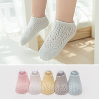 Cute Baby Cotton Socks Summer Anti-slip Infant Foot Cover Moda Candy Color Toddler fishnet Tripulação Meias Meninas Ankle High Meias C2589