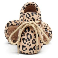 Wholesale genuine leather baby moccasins for sale - Fashionable genuine Leather Baby Moccasins Shoes hard rubber sole leopard lace up Baby Shoes Newborn first walker Infant Shoes