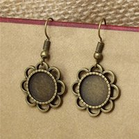 Wholesale Metal Base Cabochon - 20pc lot 12mm Bronze Flower Earring Base Cabochon Setting Earring Base Metal Blanks Round Bezel Fit Jewelry Findings T571
