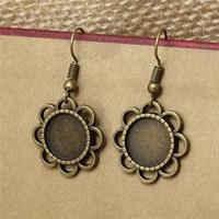 Wholesale Earring Setting 12mm Round - 20pc lot 12mm Bronze Flower Earring Base Cabochon Setting Earring Base Metal Blanks Round Bezel Fit Jewelry Findings T571