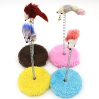 Wholesale false bottom - Pet Toy Cat Scratch Boards Elastic Feather Spring False Mouse Small Round Table Bottom Sucker With Bells Funny Mice 3 5zr F R