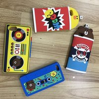 Wholesale Tape Cassette Back Cover - Fashion 3D Bottle Cassette Tape Cute Bear Soft Silicone Case For iphone 7 I7 7P 6 6S 4.7 iphone6 plus 5.5 2016 Rubber Phone Back Cover Skin