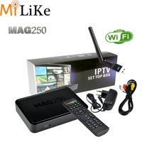 wifi internet adaptörü toptan satış-Toptan Satış - Mag250 wifi USB adaptör anten Akıllı TV Kutusu Mag 250 IPTV Set Top Box STB Google İnternet QuadCore Media Player VS Mag254