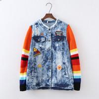 Wholesale Sexy Jean Jackets - Wholesale- runway 2017 women spring autumn brand fashion sweater Patchwork sleeve bird flower embroidery short sexy denim jean jacket