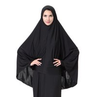 Wholesale Morden Fashion - 2017 New Arrival Morden Muslim Women Full Cover Black Hijab Classic Islamic Fashion Headwer & Scraf M-XL