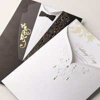 Wholesale Invitation Card Dress - Wholesale- (10 pieces lot) Western Style Bride And Groom Dress Wedding Invitation Card White And Black Full Dress Shape Wedding Card CW2011