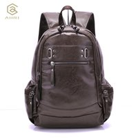 Wholesale Leather Fashion Backpack Vintage - Wholesale- AHRI Backpacks for men Bag PU Black Leather Men's Shoulder Bags Fashion Male Business Casual Boy Vintage Men Backpack School Bag