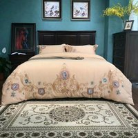 Wholesale embroidered bedding designs online - embroidery design cotton fabric bed cover bed sheet pillow case four pieces bedding set queen and kinnd size avaibllmutuaral color