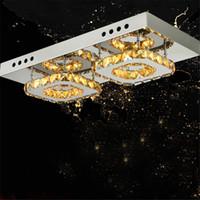 Wholesale Recessed Light Fittings - Modern Diamond LED Crystal Ceiling Light Square lustre de cristal light fitting Surface Mounted Crystal Light Fixture for Hallway Aisle