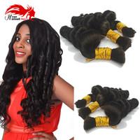 Wholesale loose deep wave braiding hair resale online - 7A Brazilian Hair mini Braiding Bulk Hair Loose Wave Hair Bulk For Braiding Bundles Deep Loose Wave Brazilian