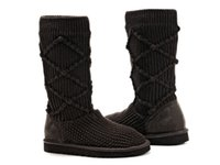 Wholesale Knitted Calf Boots - Winter Casual woman's Snow Boots Pure Color Round Toe Slip On Ladies Short Tube Knitting Wool Boots Warm Shoes Size: 36 -- 40