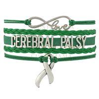 Wholesale Mens Leather Infinity Bracelet - Custom-Infinity Love Cerebral Palsy Nana Mom Auntie Awareness Ribbon Charm Women's Mens Green Leather Wrap Bracelet Custom