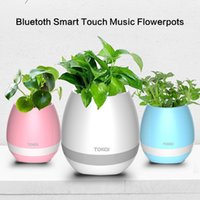 Wholesale big plastic plant pots - TOKQI Bluetoth Smart Touch Music Flowerpots Plant Piano Music Playing Wireless Flowerpot colorful light Flower pots KKA1767 (whitout Plants
