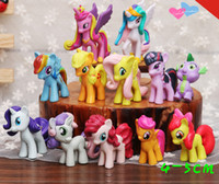 Wholesale Cake Set Toys - 12 pieces set My little Pony Action Figures Cartoon Movie figurine ponies princess Celestia Luna kids Doll Toy Gifts cake topper decor