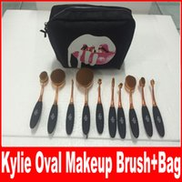 Wholesale Plastic Bb - Newest HOT Kylie Oval Makeup Brush Rose Gold Cosmetic Foundation BB Cream Powder Blush 10 pieces Makeup Tools+bag DHL