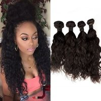 Indian Human Hair Water Wave 100% Indian Hair Weave Bundles 4 Piece Natural Black Color Frete Grátis FDSHINE HAIR