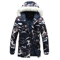 Wholesale Wadded White Jacket Men - Wholesale- Winter parka men Thicken Lovers wadded jacket Camouflage large fur collar cotton-padded jacket outerwear size M- 5XL Y102