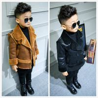 Wholesale Hot Girl Leather Clothing - New Hot Autumn Winter Boy Girl Long Sleeve Deerskin Leather Lamb Wool Coats Children Warm Thick Woolen Coats Outwear Infant Toddler Clothing