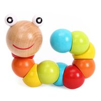 Wholesale Insects Wooden Toys Colorful - Wholesale- Wooden Wiggling Worm Colorful Rainbow Twist Caterpillar Magical Insect Kids Educational Toy Baby Finger Dexterity Training Toys