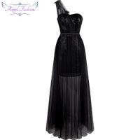 Wholesale One Shoulder Dress Transparent - Angel-fashions Women's One Shoulder Sequin Leaf Applique Transparent Run Fashion Cocktail Dress Prom Black Dresses A-313BK