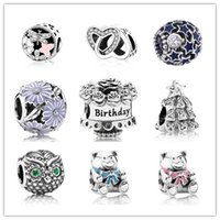 925 Sterling Silver Butterfly Birthday Bear Star Coruja Flower Charm Beads Fit para europeus Pandora Style charm Bracelet Solid Silver Jewelry