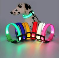 Wholesale Christmas Led Dog Collar - Christmas gifts LED Light Nylon Color Night Adjustable Flashing Pet Collar For Dog Safety Cat S M L