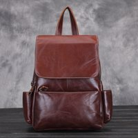 Wholesale Waxed Backpack - Wholesale- ZENCY Brand Woman Backpack Oil Wax Cow Leather Backpack Women Female Genuine Leather Backpack Cowhide Bags