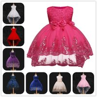Wholesale White Red Wedding Frocks - eClouds Girls Dress Lace Children Wedding Party Dresses Kids Evening Ball Gowns Formal Baby Frocks Clothes for Girl
