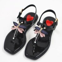 Wholesale Dragonfly Tops - summer Gladiator flats sandals with dragonfly and bees embellished buckle strap flat heel black white top quality Eu size 34-39